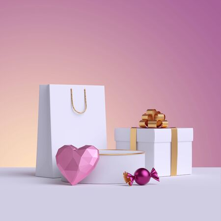 3d render. Wrapped white gift box, shopping bag, pink heart, candy. Valentine day, Birthday, Wedding. Commercial background, shopping concept, poster mockup. Product display, podium, empty pedestal