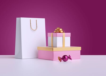3d render. Shopping bag, wrapped gift box, candy isolated on pink background. Commercial concept, poster mockup. Product display for advertisement.