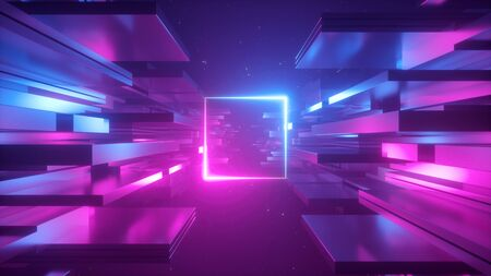 3d render, abstract futuristic background, blue pink neon light, ultraviolet glowing line, blank square frame, copy space, cosmos.