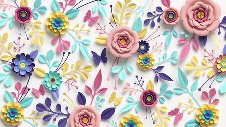 3d render, horizontal floral pattern. Abstract cut paper flowers isolated on white, botanical background. Rose, daisy, dahlia, butterfly, leaves in pastel colors. Modern decorative handmade design Banco de Imagens