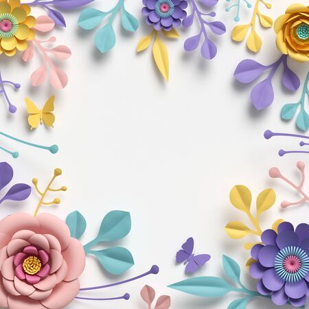 3d render, square floral frame with copy space. Abstract cut paper flowers isolated on white, botanical background. Rose, daisy, dahlia, butterfly, leaves in pastel colors. Simple card template Banco de Imagens