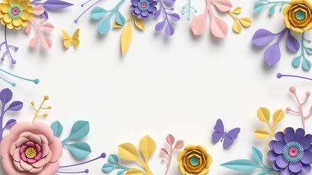 3d render, horizontal floral frame with copy space. Abstract cut paper flowers isolated on white, botanical background. Rose, daisy, dahlia, butterfly, leaves in pastel colors. Modern card template Banco de Imagens