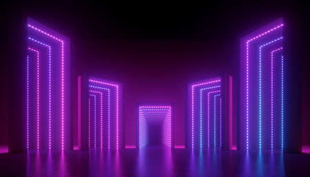 3d render, abstract ultraviolet background, geometric construction illuminated with pink blue violet light. Empty boxes