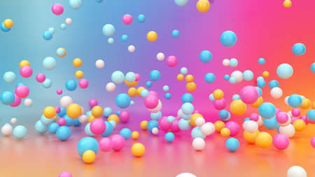 3d render, abstract vibrant gradient background, assorted colorful balls falling down, jumping, bouncing, flying or levitating inside empty room. Minimal fun concept. Pink blue yellow white balloons Reklamní fotografie