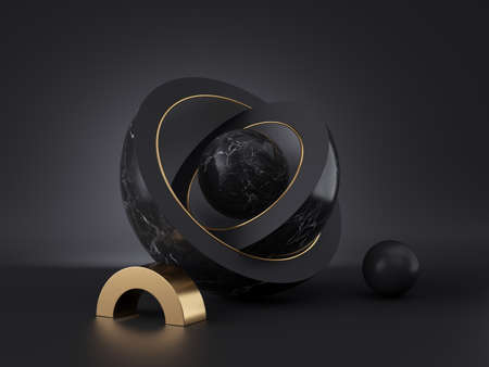 3d render, abstract geometric shapes, black minimal background. Marble core ball hidden inside hemisphere shell, isolated objects, stack of bowls, simple clean style, premium design, classy decor