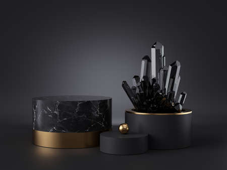 3d abstract modern minimal black background, dark crystal nugget inside cylinder vase, blank mockup, showcase stand, empty marble podium, shop product display, isolated objects, fashion premium design Foto de archivo