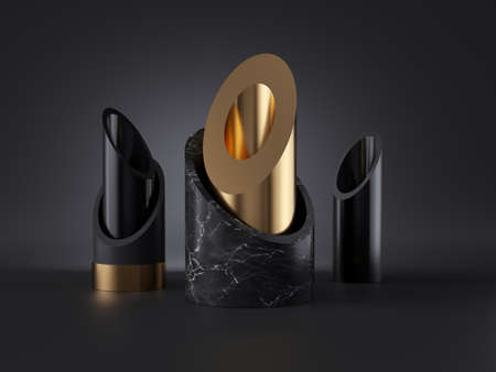 3d abstract black gold minimalist background, cut tubes, cylinder blocks, isolated objects, marble stone texture, fashion elements, simple clean style, classy decor. Premium futuristic design