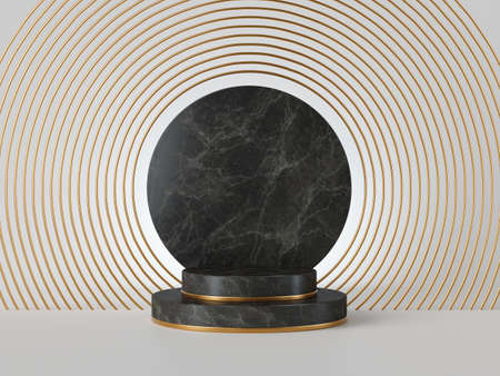 3d rendering of black marble steps and blank round memorial board isolated on white background. Art deco geometric frame, abstract minimal concept with copy space, clean design, minimal fashion mockup Foto de archivo