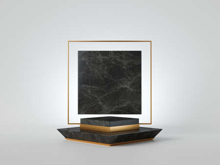 3d render, minimalist black marble podium isolated on white background. Empty platform, vacant pedestal, stage, showcase stand, product display. Gold square frame with copy space. Abstract concept