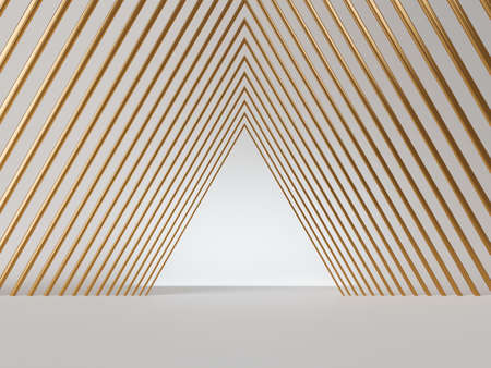 3d render, abstract minimal art deco geometric background. Isolated golden lines, triangular shapes, empty corridor perspective view.