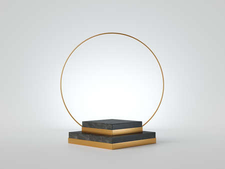 3d render abstract black marble platform steps with golden ring, round art deco frame, isolated on white background. Empty square stage, vacant fashion podium, blank award mockup. Clean design concept