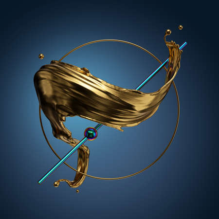 3d render, abstract modern minimal background. Liquid gold, spiral golden splash. Primitive geometric shapes, golden ring, iridescent blue line, metallic elements, simple isolated objects. Digital art Foto de archivo