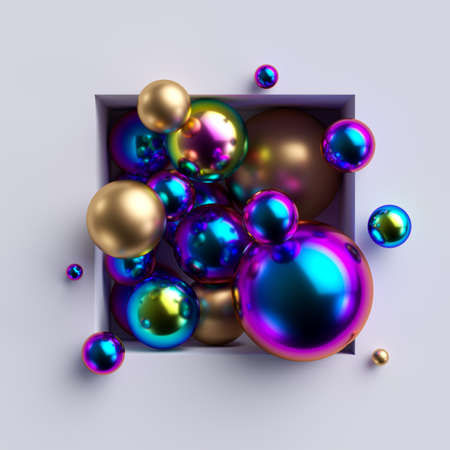 3d render, abstract background. Bunch of colorful iridescent shiny metallic balls inside square niche, isolated on white background. Minimal concept. Glass beads, beautiful gold pearls. Foto de archivo