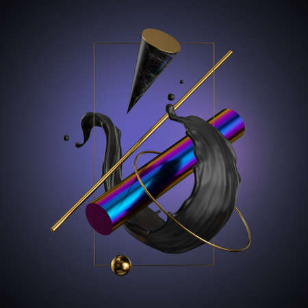 3d render, abstract modern minimal background. Black liquid splash, primitive geometric shapes, holographic cylinder, golden ring, marble cone, metallic elements, simple isolated objects. Digital art