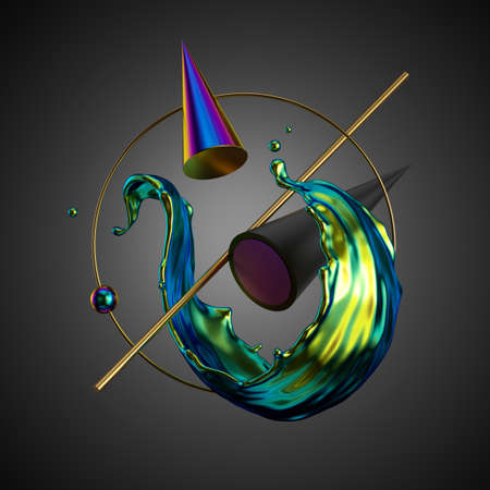3d render, abstract modern minimal background. Iridescent liquid splash, primitive geometric shapes, holographic cone, balls, golden ring, metallic elements, simple isolated objects. Digital art