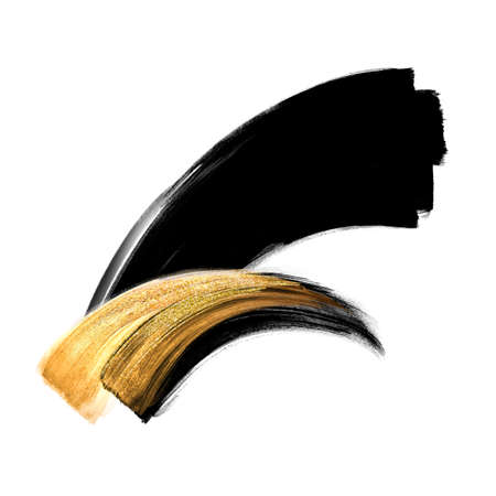 abstract black ink calligraphic shape with golden smear, modern minimal gouache brush stroke, hand painted watercolor clip art isolated on white background, fashion illustration, splash design element Foto de archivo