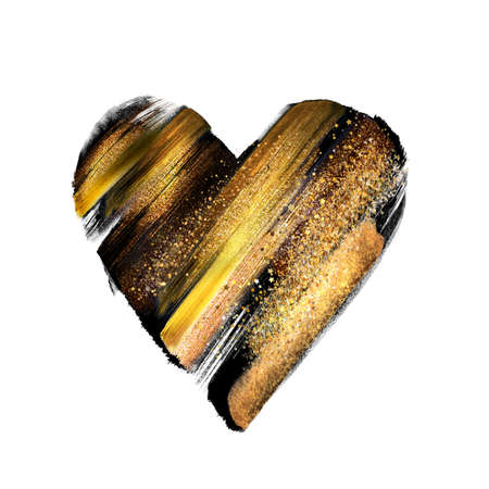 abstract black gold heart shape isolated on white background, sketch. Valentine's day symbol, love sign, icon, romantic clip art. Sketch. Gouache paint smear, watercolor brush strokes texture Foto de archivo