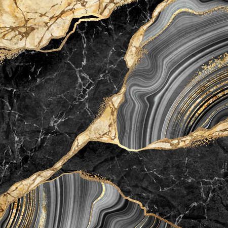 abstract background, black marble and agate mosaic with golden veins, japanese kintsugi technique, fake painted artificial stone texture, marbled wallpaper, digital marbling illustration Banco de Imagens