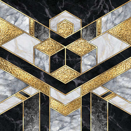 digital illustration, abstract art deco background, modern mosaic inlay, texture of marble agate and gold minimal geometric pattern, artificial stone, marbled tile, luxury fashion marbling design
