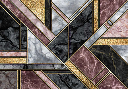 abstract marble mosaic background, art deco wallpaper, black white pink gold marbled tile, geometrical fashion marbling illustration, artificial stone texture