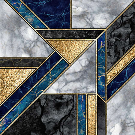 abstract marble mosaic background, art deco wallpaper, black white blue gold marbled tile, geometrical fashion marbling illustration, artificial stone texture