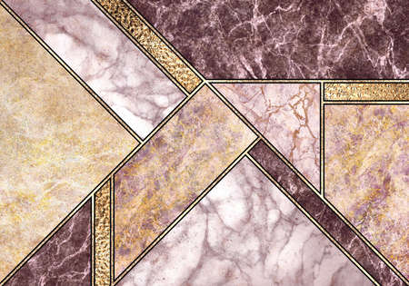 abstract background, modern marble mosaic, art deco wallpaper, artificial stone texture, pink gold marbled tile, geometrical fashion marbling illustration