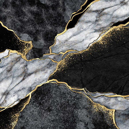 abstract background, black and white marble mosaic with golden veins, japanese kintsugi technique, fake painted artificial stone texture, marbled surface, digital marbling illustration