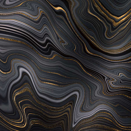 abstract black agate background with golden veins, fake painted artificial stone, marble texture, luxurious marbled surface, digital marbling illustration