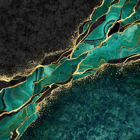 abstract black marble green malachite background with golden veins, japanese kintsugi technique, fake painted artificial stone texture, marbled surface, digital marbling illustration