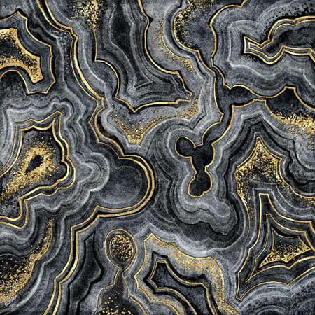 abstract background, fake lace agate with golden veins, painted artificial stone texture, marbled surface, digital marbling illustration Foto de archivo