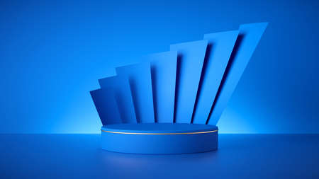 3d render, abstract fashionable art deco blue background, empty cylinder podium, vacant pedestal, shop product display, showcase, round stage. Paper stripes. Modern minimal concept