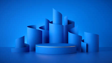 3d render, abstract modern fashionable blue background, empty cylinder podium, vacant pedestal, shop product display, showcase, round stage. Scrolled paper rolls