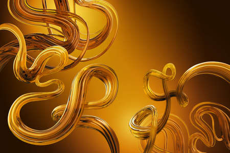 3d render, abstract golden yellow background with glossy wavy lines, flexible shape with glass texture, loops and curves. Tangled ribbon. Honey caramel candy cane. Digital illustration Foto de archivo