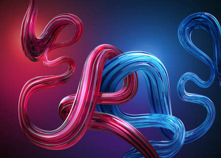 3d render, abstract background with glossy red blue wavy lines, knotted flexible shapes with glass texture, loops and curves. Tangled ribbon. Caramel candy cane. Digital illustration