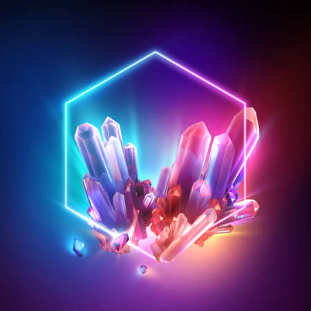 3d render, abstract colorful neon background with crystals inside the hexagonal frame. Esoteric wallpaper Foto de archivo