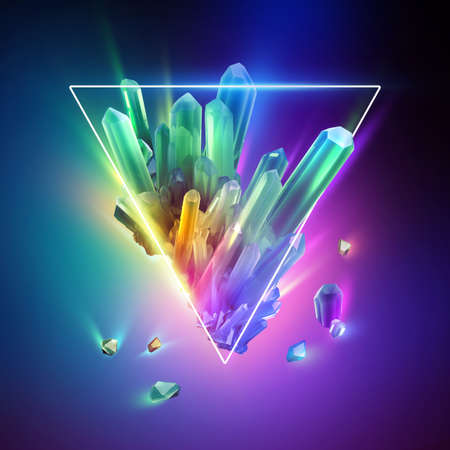 3d render, abstract colorful neon background with crystals inside the triangular frame