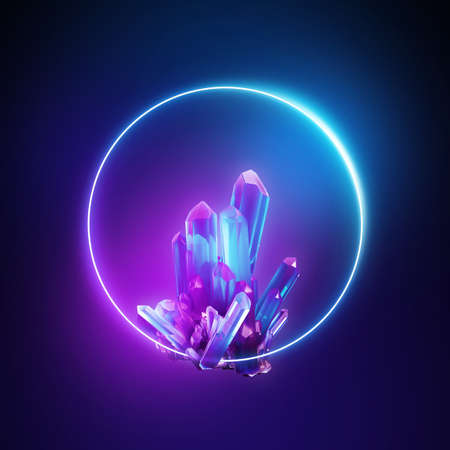 3d render, abstract neon background with crystals and round frame, ultraviolet spectrum. Esoteric wallpaper