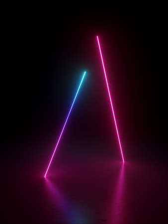 3d render, abstract background with bright pink blue lines. Glowing neon light gradient. Laser rays in the dark. Futuristic minimal geometric design. Ultraviolet spectrum.