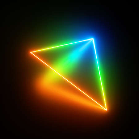 3d render, red green blue neon triangle of light, glowing triangular simple geometric shape perspective view, isolated on black background, blank space for text Foto de archivo