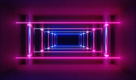 3d render, abstract background, empty corridor illuminated with bright pink neon light.