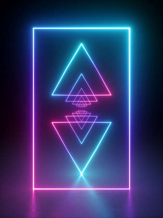 3d render, abstract minimal geometric background. Glowing neon light triangles. Laser rays in the dark. Futuristic design. Ultraviolet spectrum gradient.