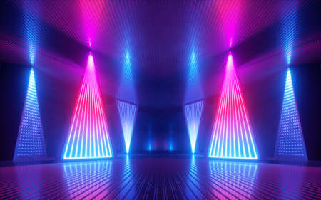 3d render, abstract background with pink blue neon glowing light inside empty room. Futuristic energetic technology concept. Performance stage design. Led lamp panel.