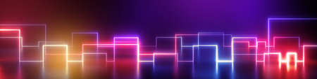 3d render, abstract geometric neon background, wide panorama with ultraviolet glowing lines. 免版税图像