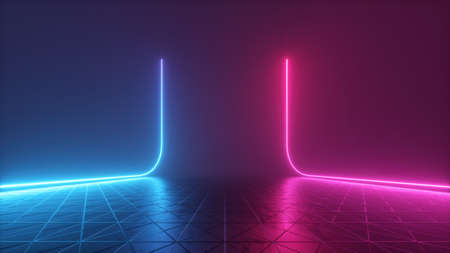 3d render, abstract futuristic neon background with glowing lines Foto de archivo