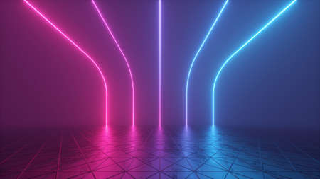 3d render, abstract futuristic background with glowing neon lines, retro room in virtual reality space, synth wave ultraviolet gradient spectrum