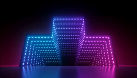 3d render, abstract neon background, glowing pink blue led light, geometric shape with tunnel optical illusion perspective view. Modern minimal design, empty performance stage floor reflection