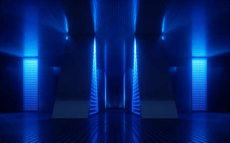 3d render, blue neon abstract background, ultraviolet light, night club empty room interior, tunnel or corridor, glowing panels, fashion podium, performance stage decorations