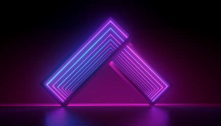3d render, abstract violet neon light background, blue pink glowing led diodes, geometric shape with optical illusion. Ultraviolet illumination. Modern design 免版税图像