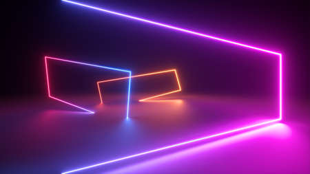 3d render, abstract background with colorful neon light. Performance stage laser show illumination. Rectangular geometric shapes, square frames, virtual reality. Glowing neon lines. Modern design