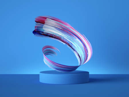 3d render colorful spiral gouache brush stroke object behind the empty podium isolated on blue background, acrylic paint smear clip art, blank showcase, vacant pedestal, copy space for product display Foto de archivo